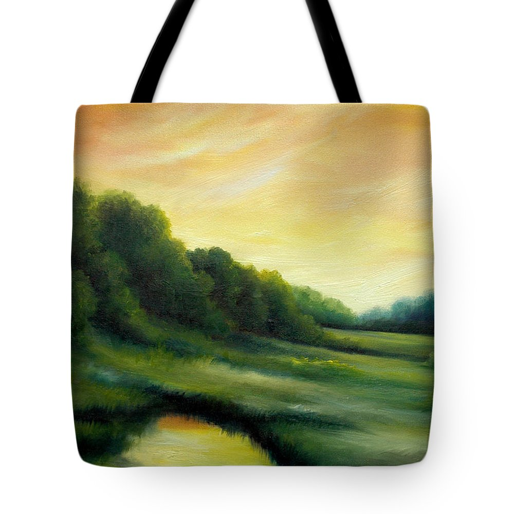 Clouds Tote Bag featuring the painting A Spring Evening Part Two by James Christopher Hill