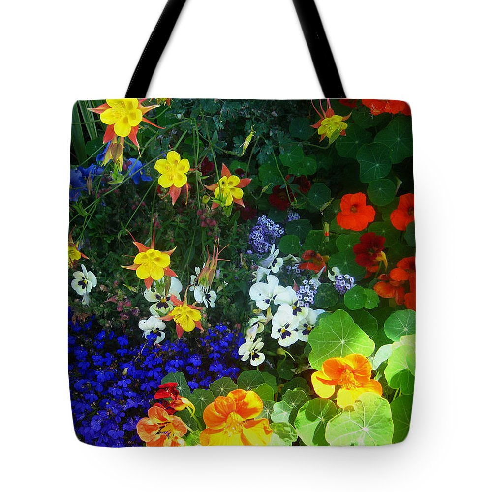 Flowers Tote Bag featuring the photograph A Spring Garden Medley by Andrea Freeman