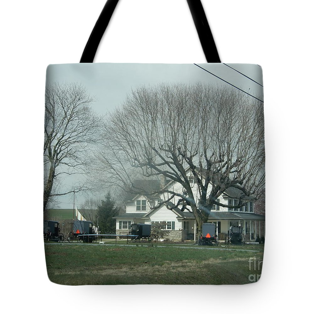 Amish Tote Bag featuring the photograph A Springtime Gathering by Christine Clark