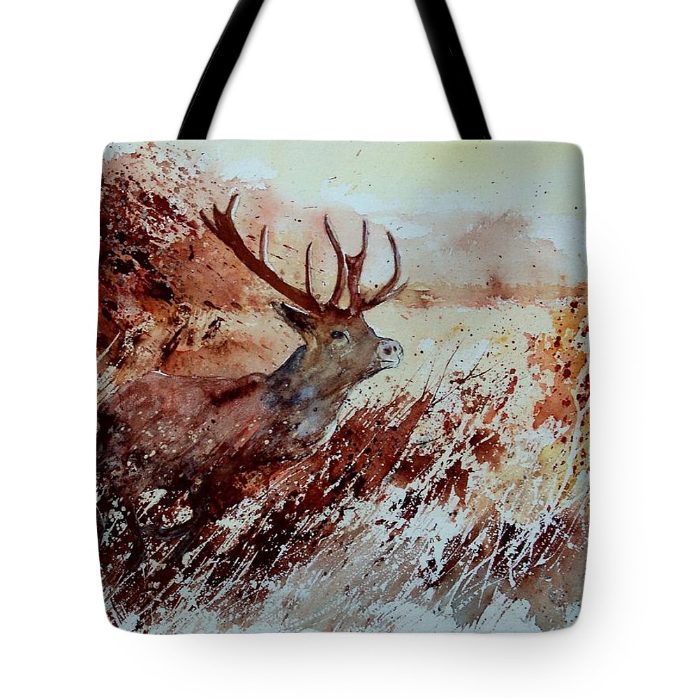 Animal Tote Bag featuring the painting A Stag by Pol Ledent