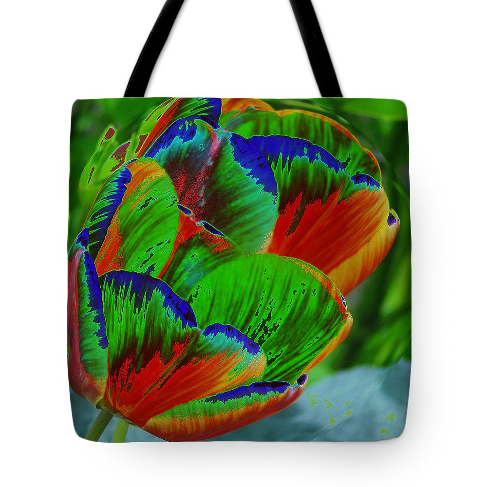Flowers Tote Bag featuring the photograph A Stained Tullip  by Jeff Swan