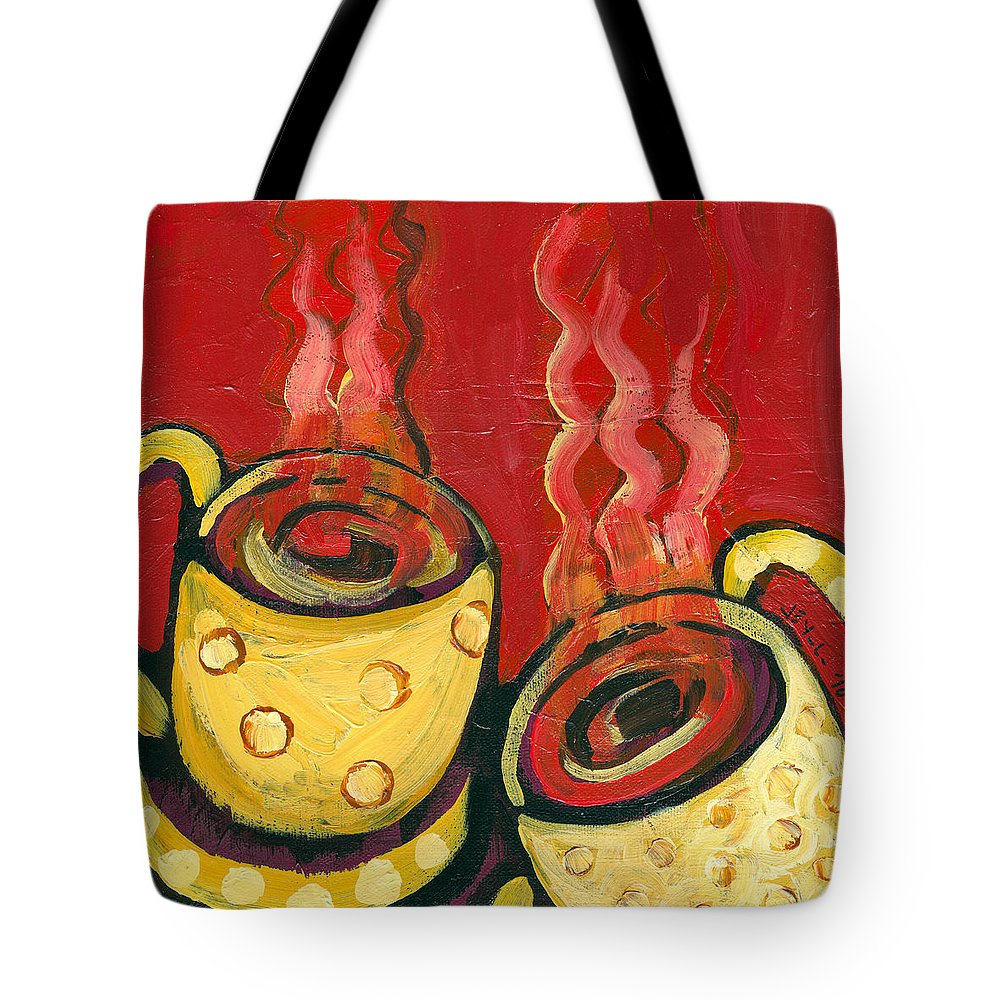Coffee Tote Bag featuring the painting A Steaming Romance by Jennifer Lommers