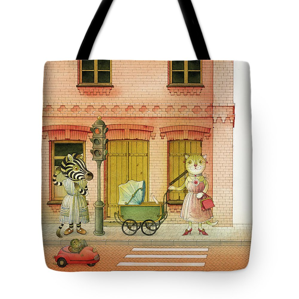Striped Zebra Cat Cars Street Traffic Old Town Red Children Illustration Book Animals Tote Bag featuring the drawing A Striped Story02 by Kestutis Kasparavicius