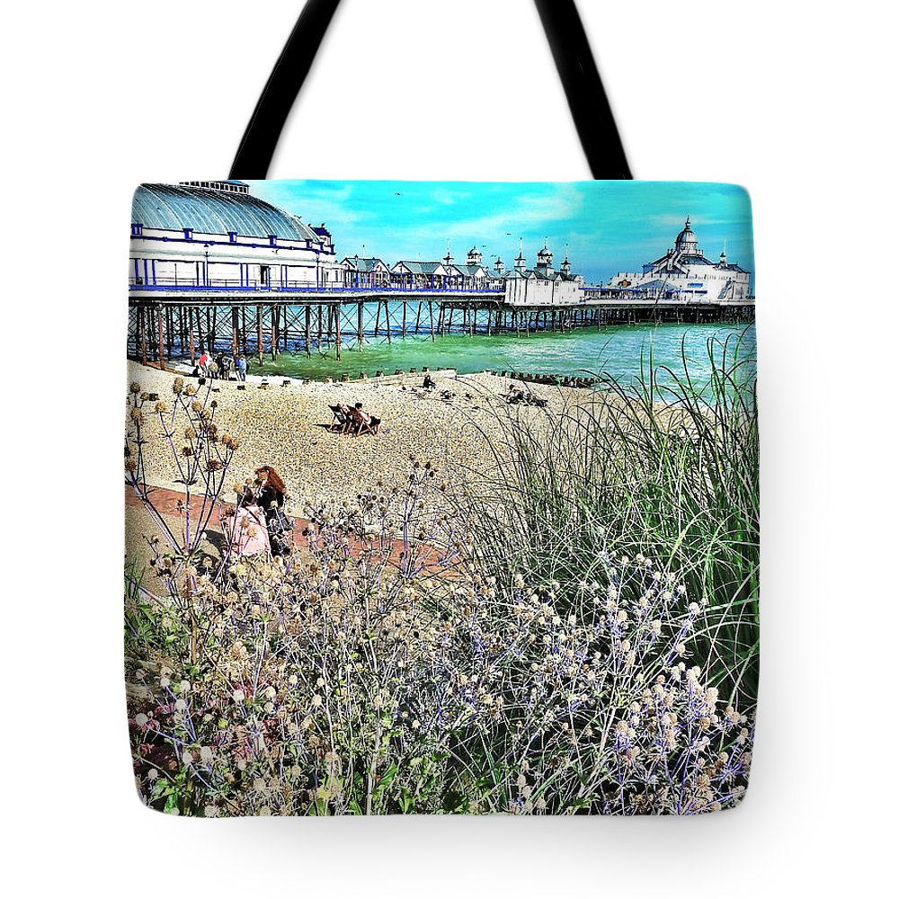 Connie Handscomb Tote Bag featuring the photograph A Stroll At The Seaside by Connie Handscomb