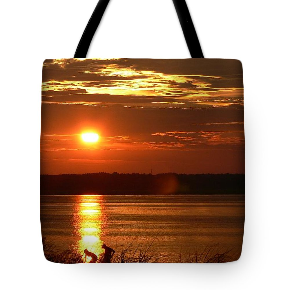 Sunset Tote Bag featuring the photograph A Summer Days End by Nancie DeMellia