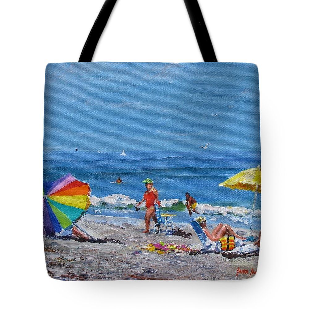 Beach Scene Tote Bag featuring the painting A Summer by Laura Lee Zanghetti