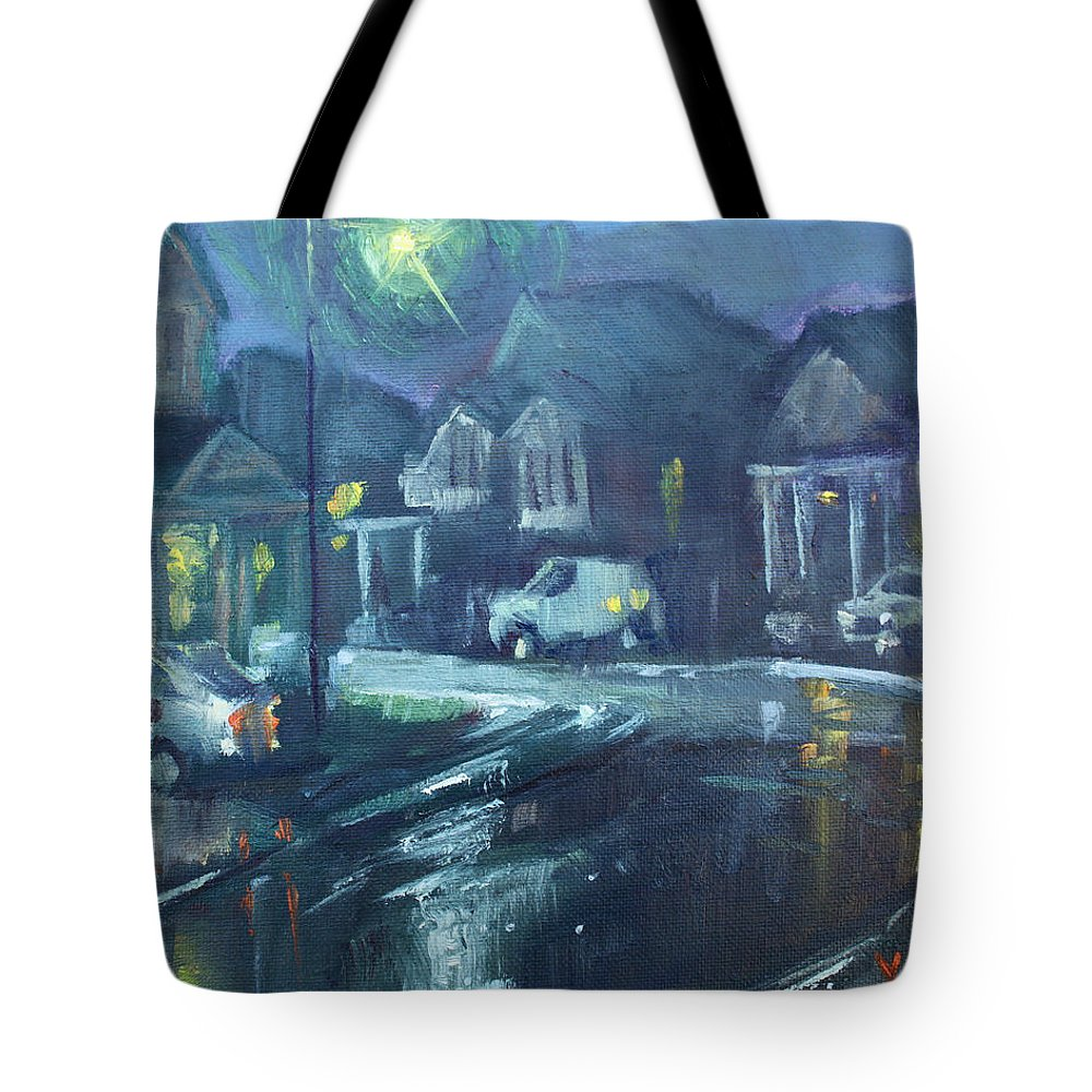 Summer Tote Bag featuring the painting A Summer Rainy Night by Ylli Haruni
