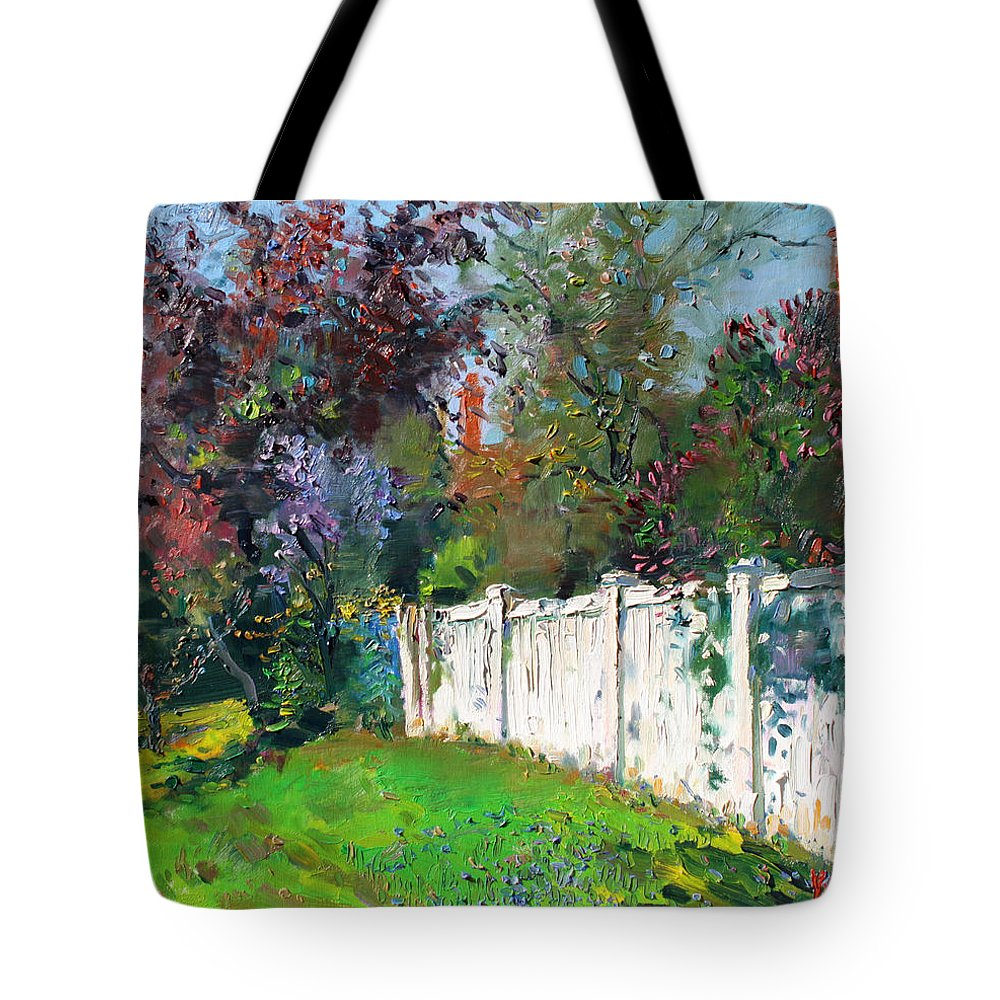 Trees Tote Bag featuring the painting A Sunny Sunday by Ylli Haruni