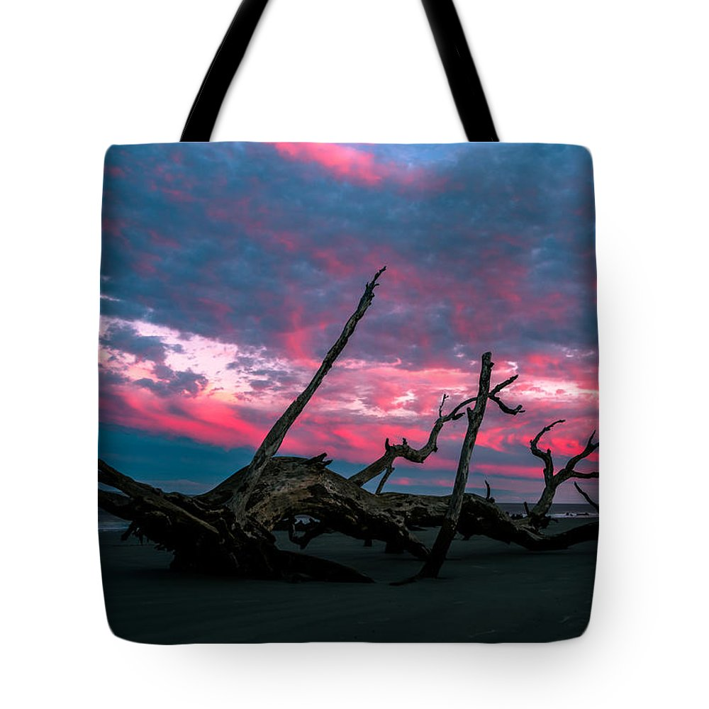 Tote Bag featuring the photograph A Sunset On Jekyll by John Krivec