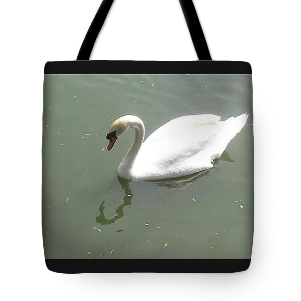White Tote Bag featuring the photograph A Swan by Anjelika Furmanova