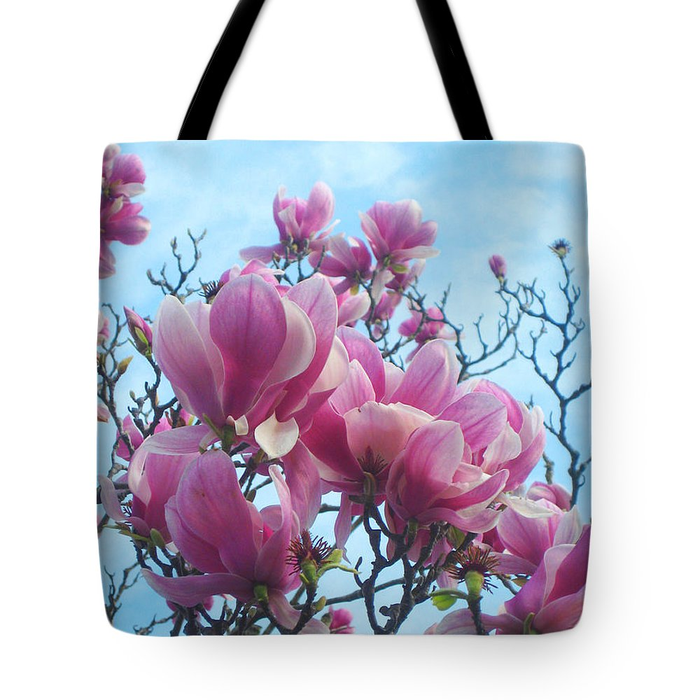 Magnolia Flowers Tote Bag featuring the photograph A Symphony Of Magnolia Flowers by Andrea Freeman