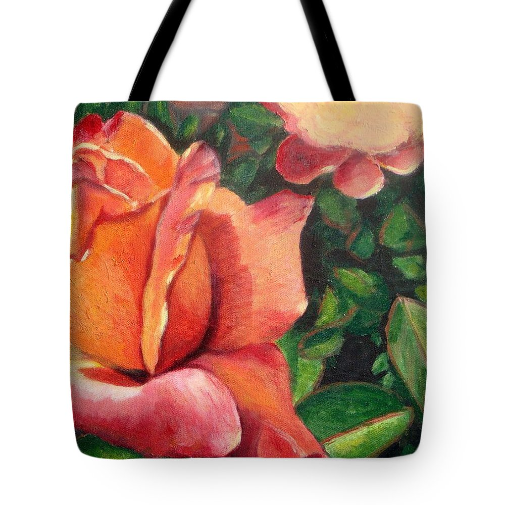 Rose Tote Bag featuring the painting A Tale Of Two Roses by Laurie Morgan