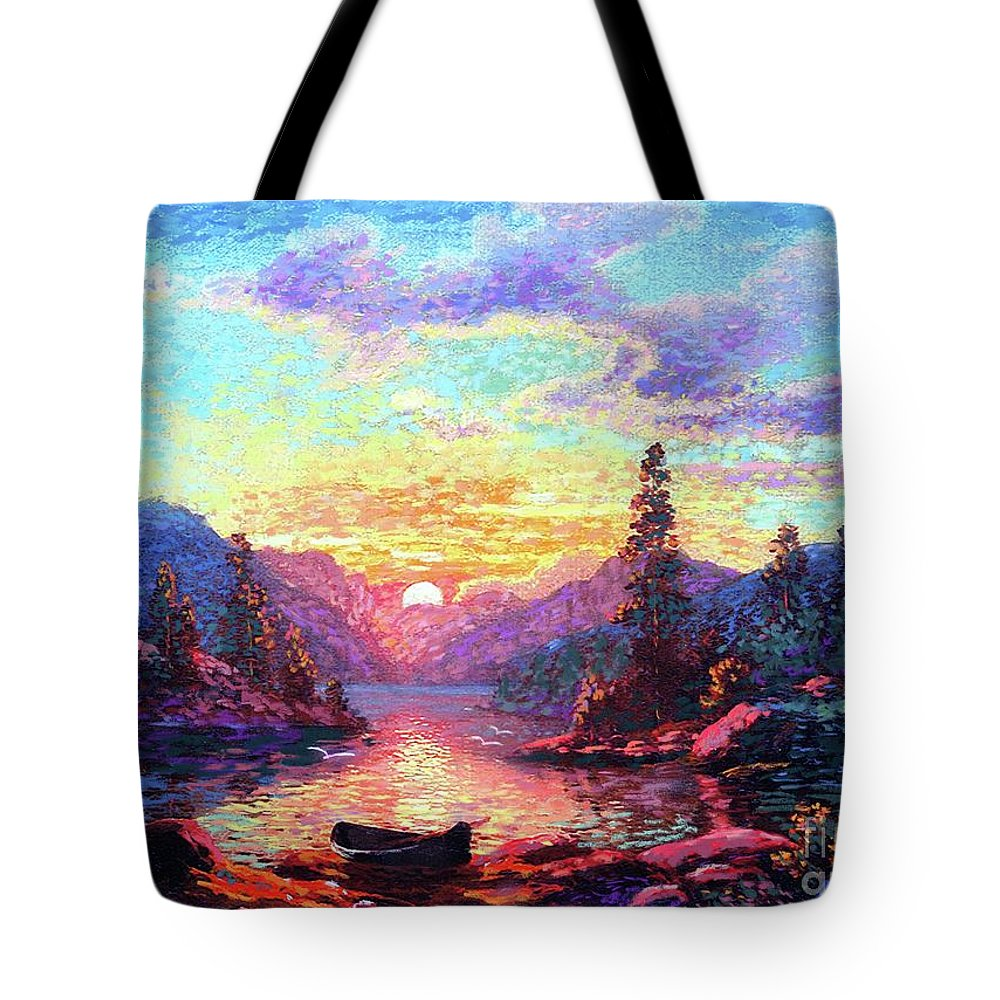 Sunset Tote Bag featuring the painting A Time For Peace by Jane Small