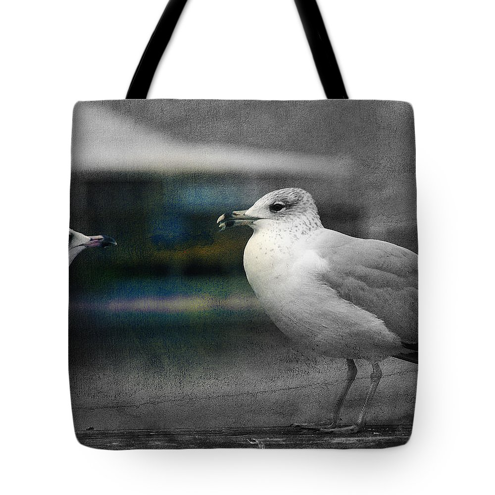 Two Seagulls Tote Bag featuring the photograph A Touch Of Blue by Susanne Van Hulst