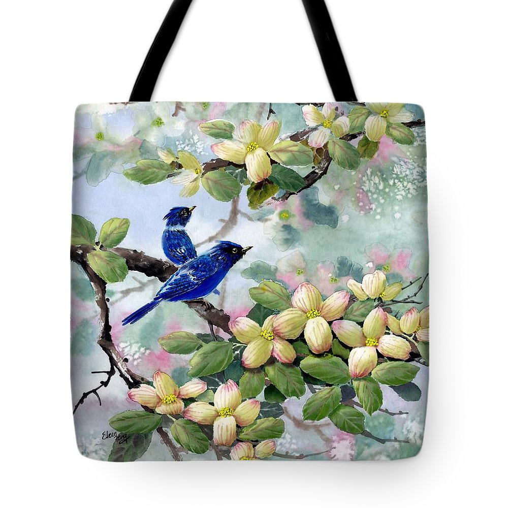 Blue Jays Tote Bag featuring the painting A Touch Of Pink On White by Eileen Fong
