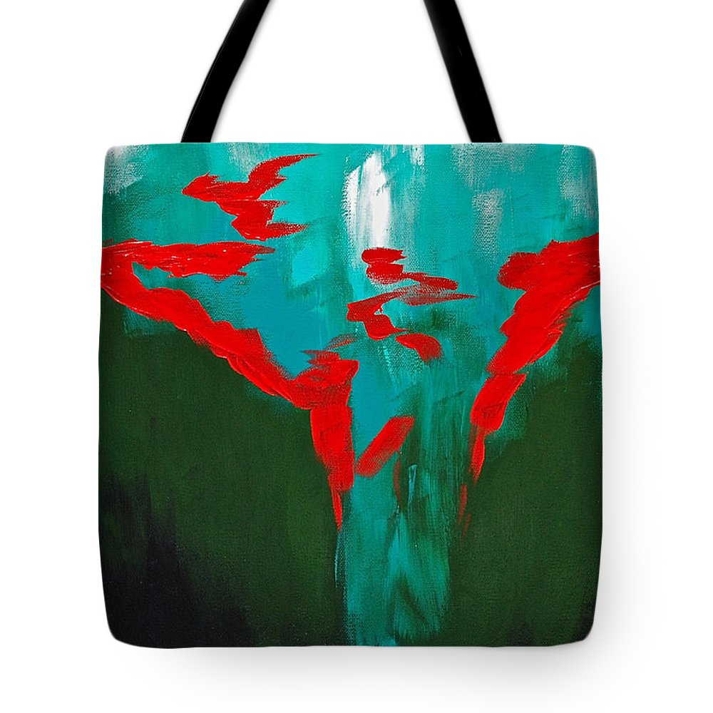 Abstract By Herschel Fall Red And Green Hot Tote Bag featuring the painting A Touch Of Red by Herschel Fall