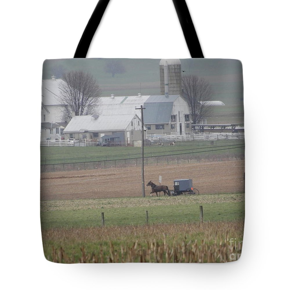 Amish Tote Bag featuring the photograph A Tranquil Spring Pause by Christine Clark