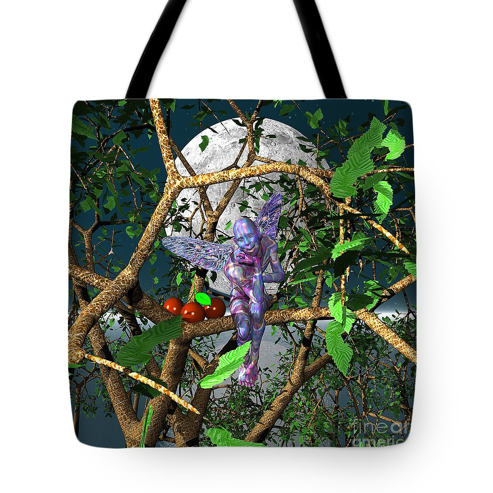Male Portraits Tote Bag featuring the digital art A Tree Fairy by Walter Oliver Neal