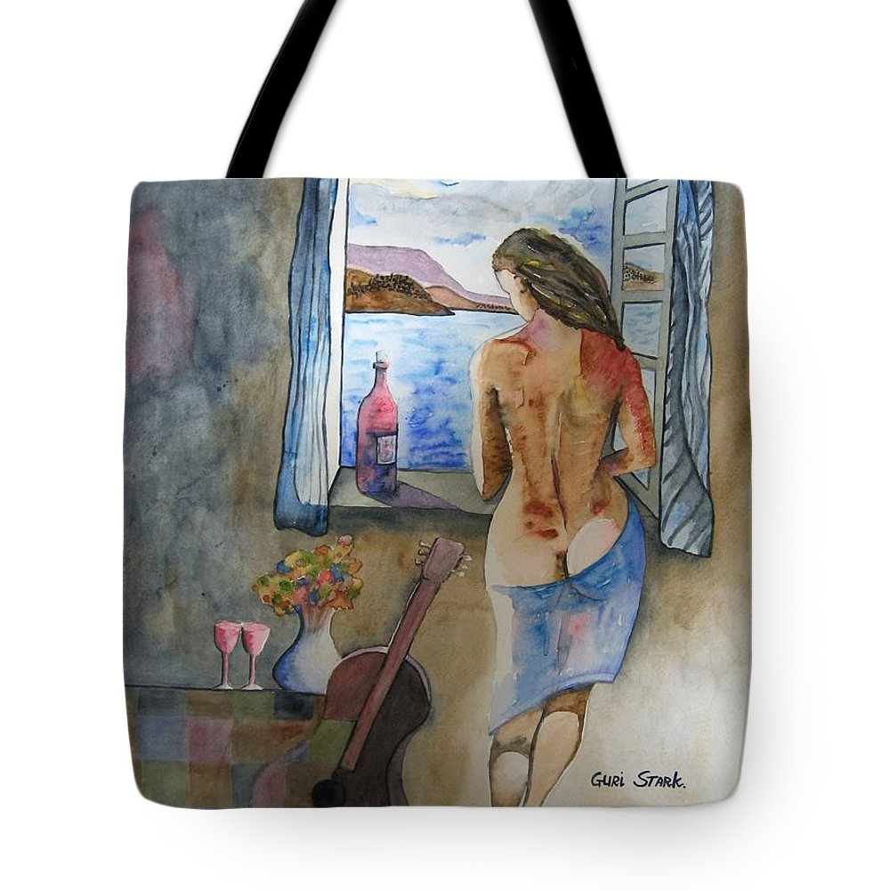 Watercolor Tote Bag featuring the painting A Tribute To Salvador Dali by Guri Stark