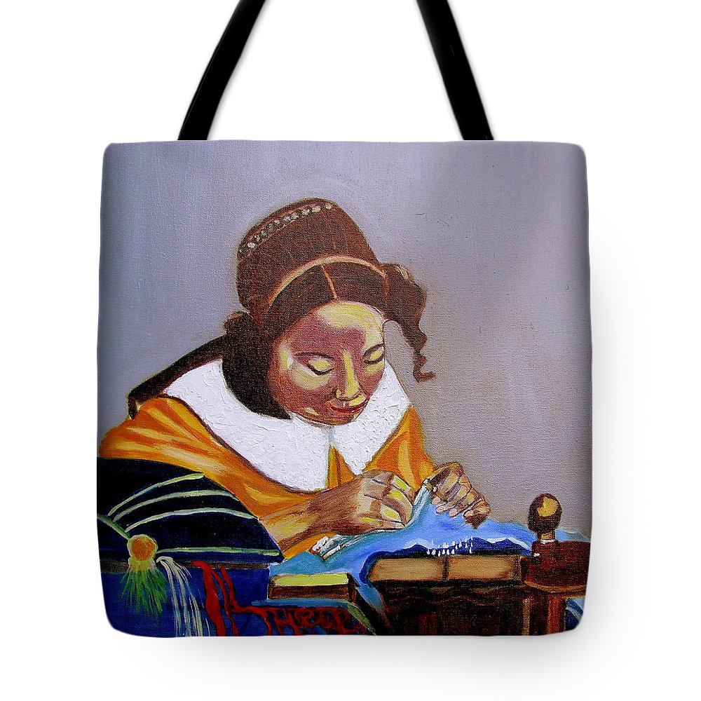 Pastiche Tote Bag featuring the painting A Tribute To Vermeer The Lacemaker by Rusty Gladdish