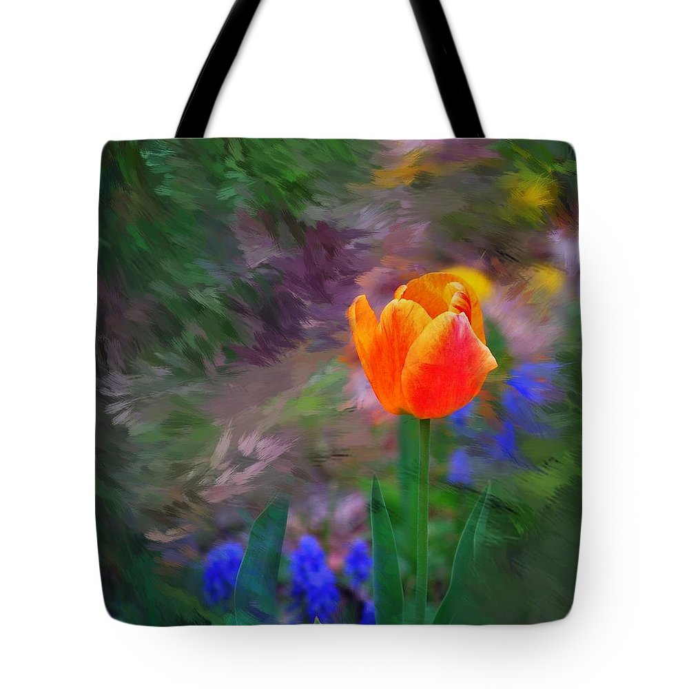 Floral Tote Bag featuring the digital art A Tulip Stands Alone by David Lane