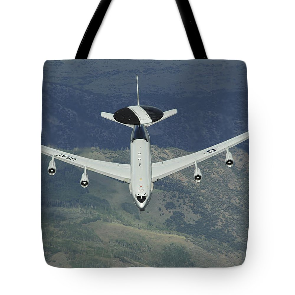 Awacs Tote Bag featuring the photograph A U.s. Air Force E-3 Sentry Airborne by Stocktrek Images