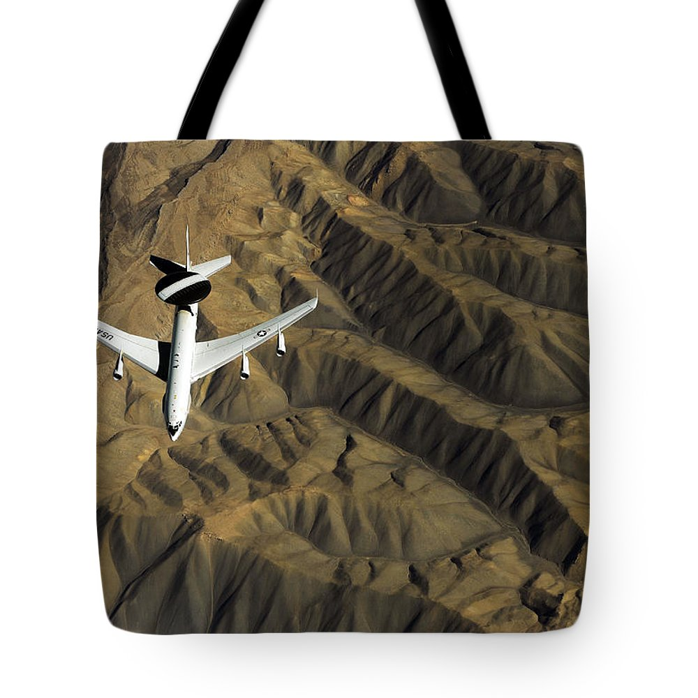 Operation Enduring Freedom Tote Bag featuring the photograph A U.s. Air Force E-3 Sentry Aircraft by Stocktrek Images