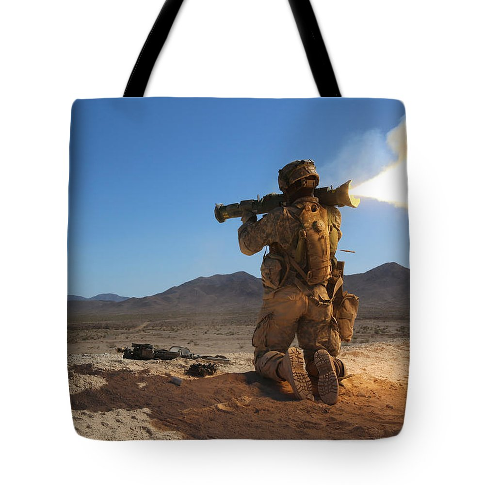 Military Tote Bag featuring the painting A U.s. Army Soldier, Fires A M136 At4 by Celestial Images