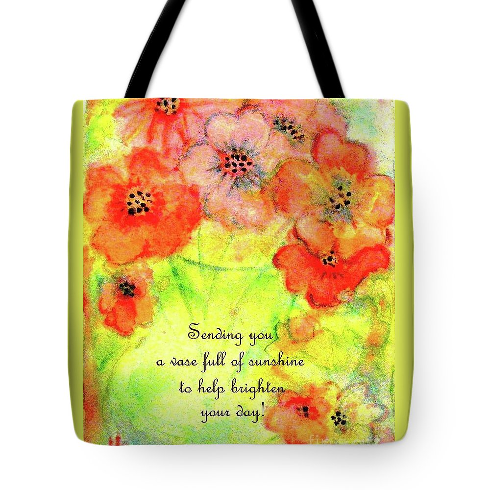 Green Glass Vase Of Orange And Pink Flowers Tote Bag featuring the painting A Vaseful Of Sunshine by Hazel Holland