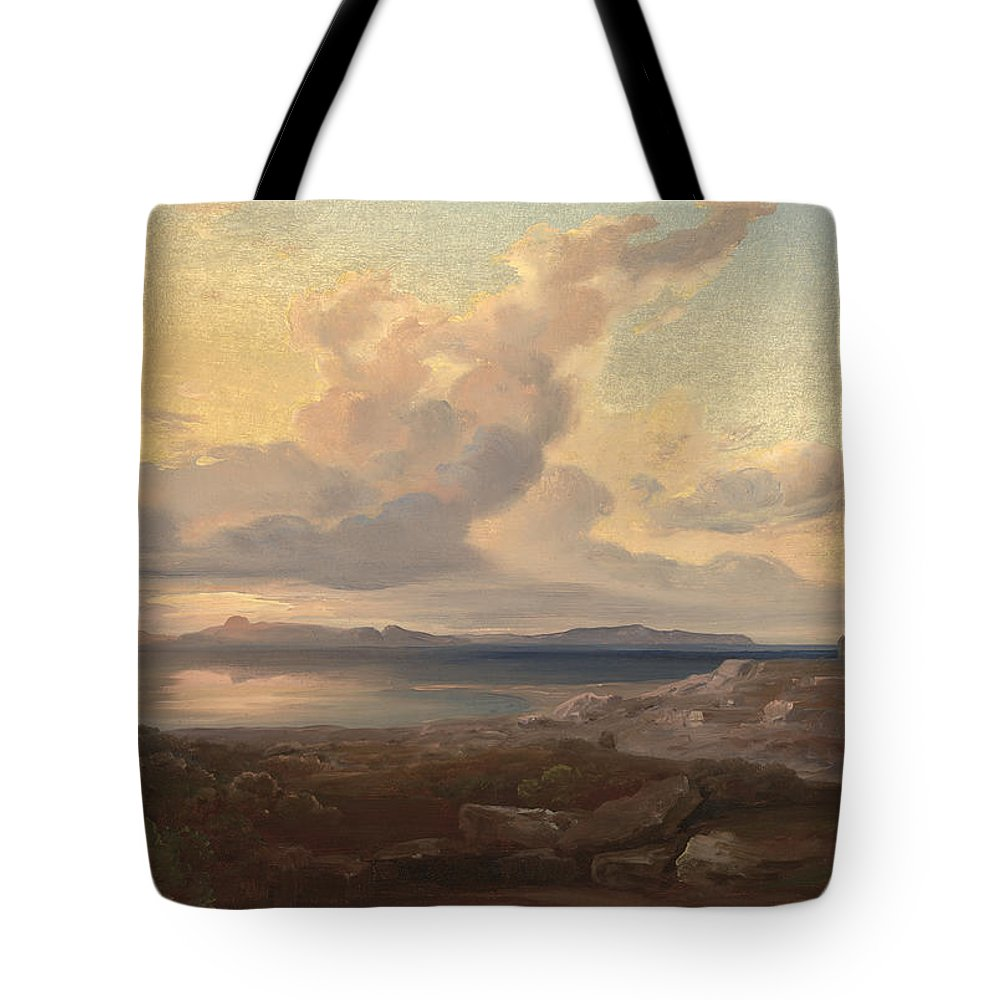 Carl Anton Joseph Rottmann Tote Bag featuring the painting A View Of Aegina by Celestial Images