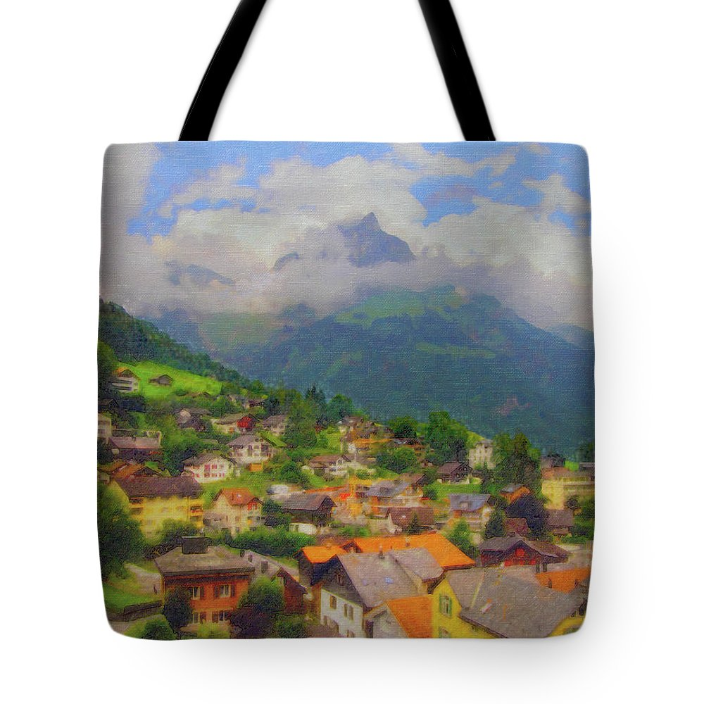 Engelberg Tote Bag featuring the digital art A View Of Engelberg Switzerland by Paul Gioacchini