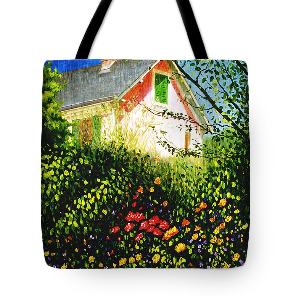 Monets House Tote Bag featuring the painting A View Of Monets House In Giverny France by Gary Hernandez