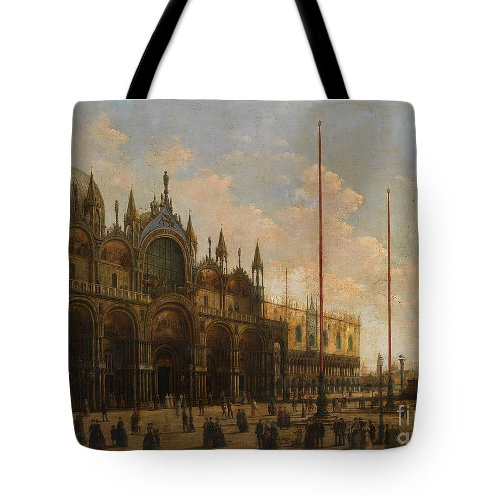 Giuseppe Bernardino Bison (1772 - 1844) Tote Bag featuring the painting A View Of St. Mark's Basilica by MotionAge Designs