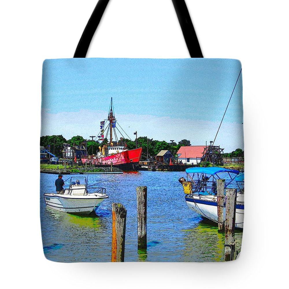 Lewes Delaware Photography Tote Bag featuring the photograph A View Of The Light Ship by Jeffrey Todd Moore