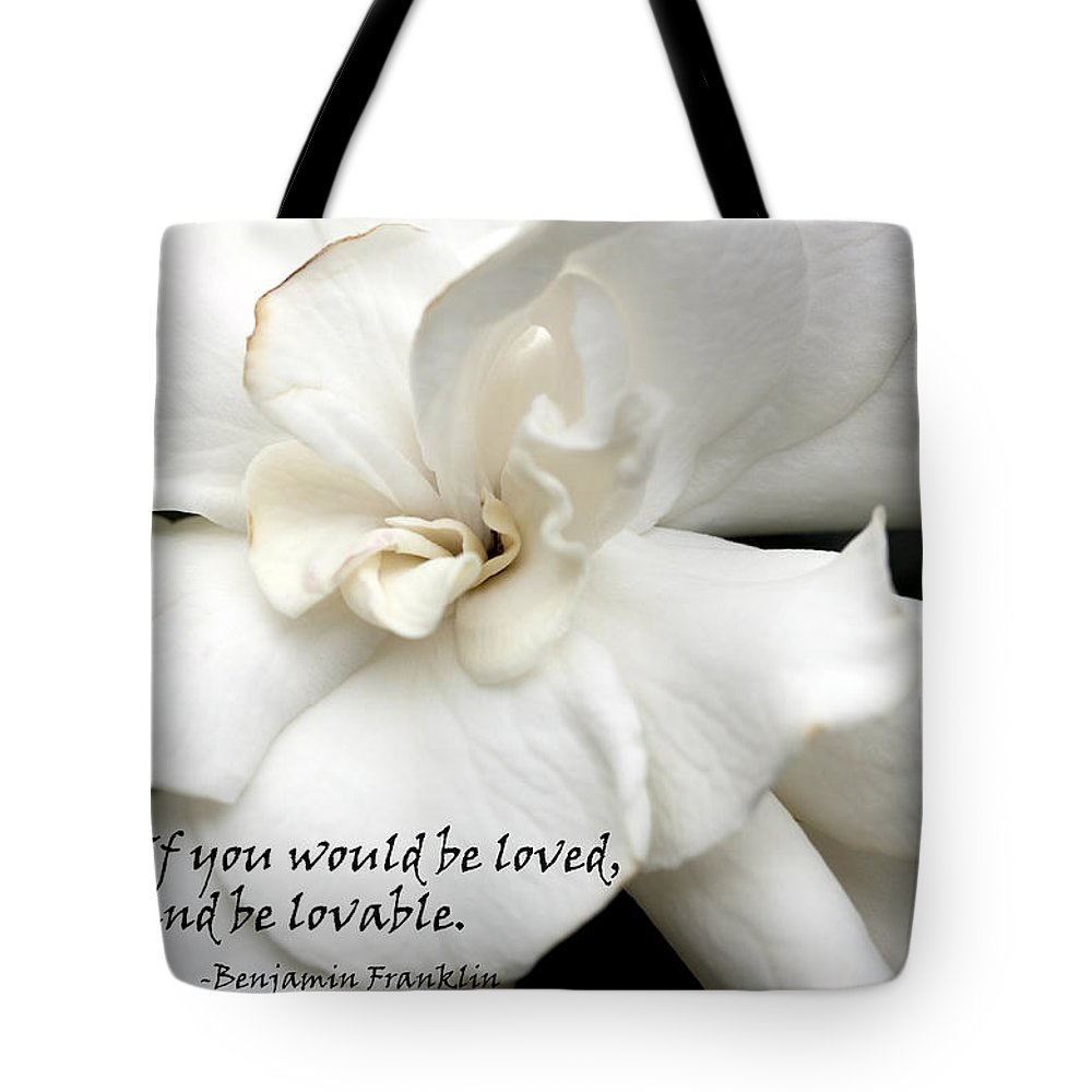 Gardenia Tote Bag featuring the photograph A View On Love by Mary Haber