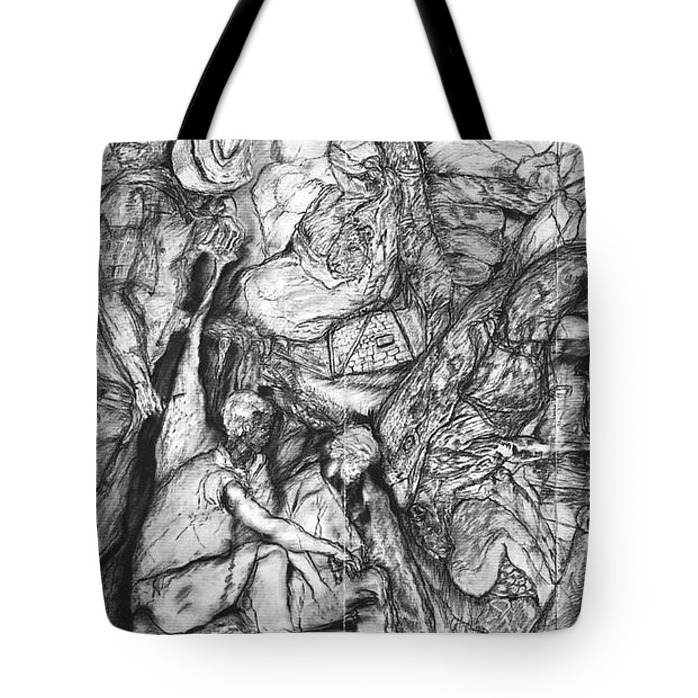 Graphite; Ethnic; Spiritual; Fragmented Art;drawing Tote Bag featuring the drawing A Village by Arlene Rabinowitz