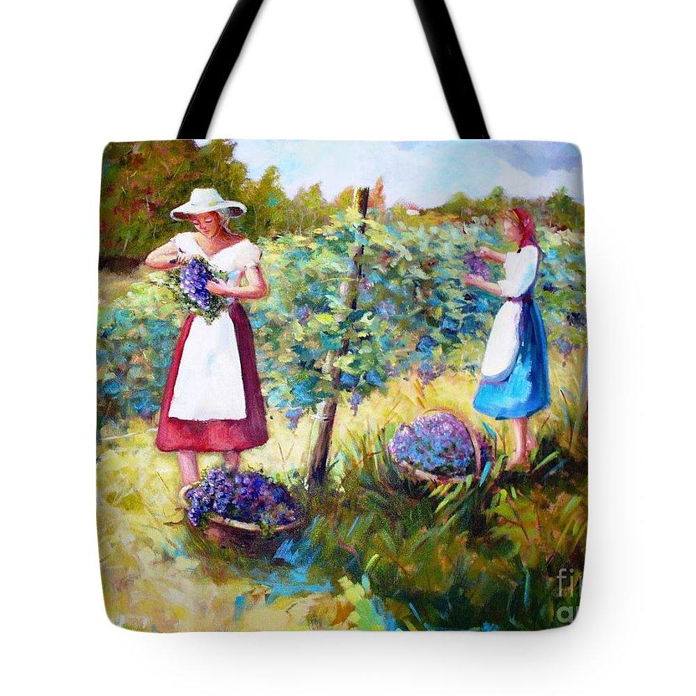 Landscape Tote Bag featuring the painting A Vindima by Fernanda Cruz