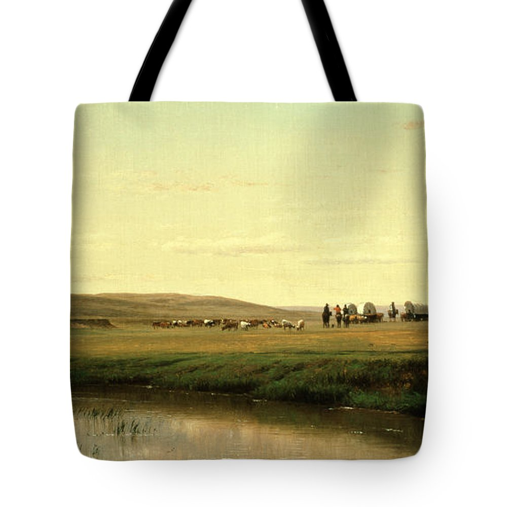 A Wagon Train On The Plains (oil On Board) By Thomas Worthington Whittredge (1820-1910) Tote Bag featuring the painting A Wagon Train On The Plains by Thomas Worthington Whittredge