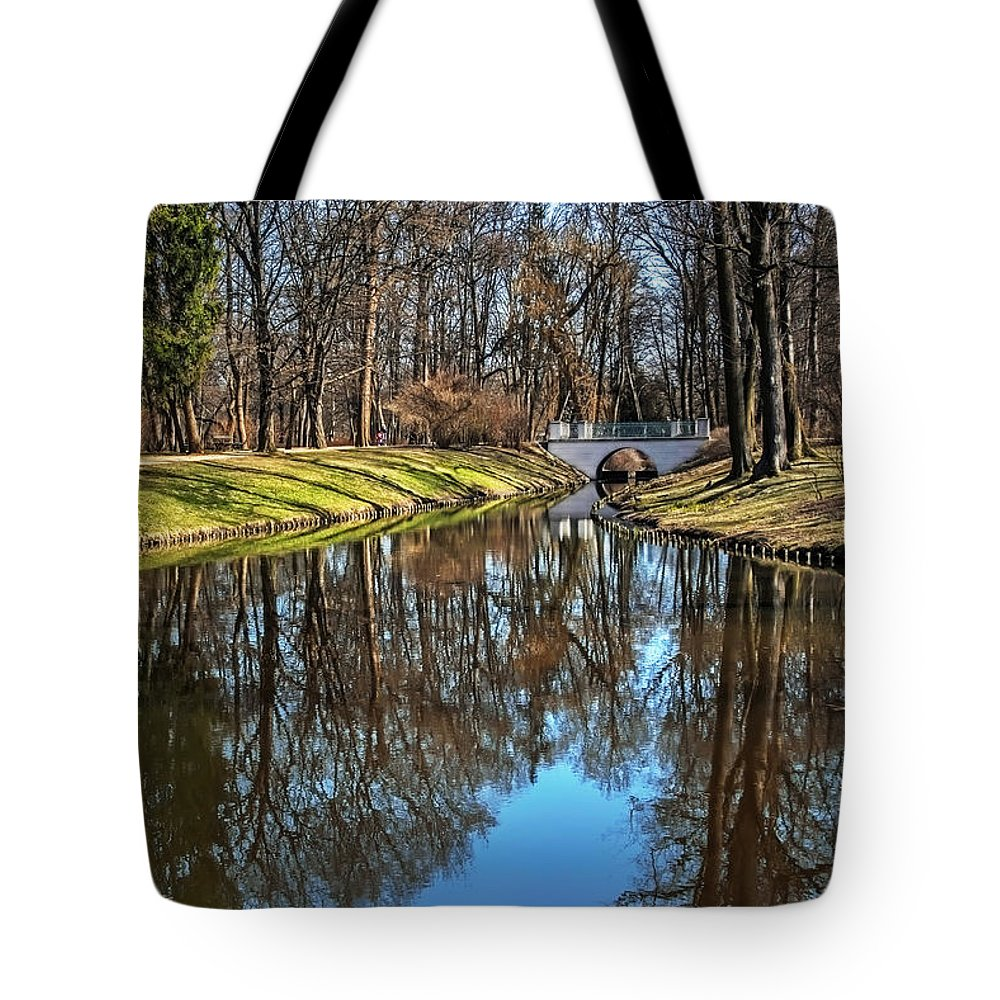 Lazienki Tote Bag featuring the photograph A Walk In The Park Lazienki Warsaw by Carol Japp