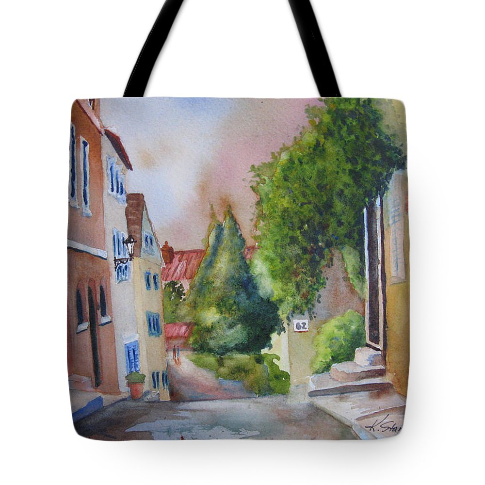 Cityscapes. Architecture Tote Bag featuring the painting A Walk in the Village by Karen Stark