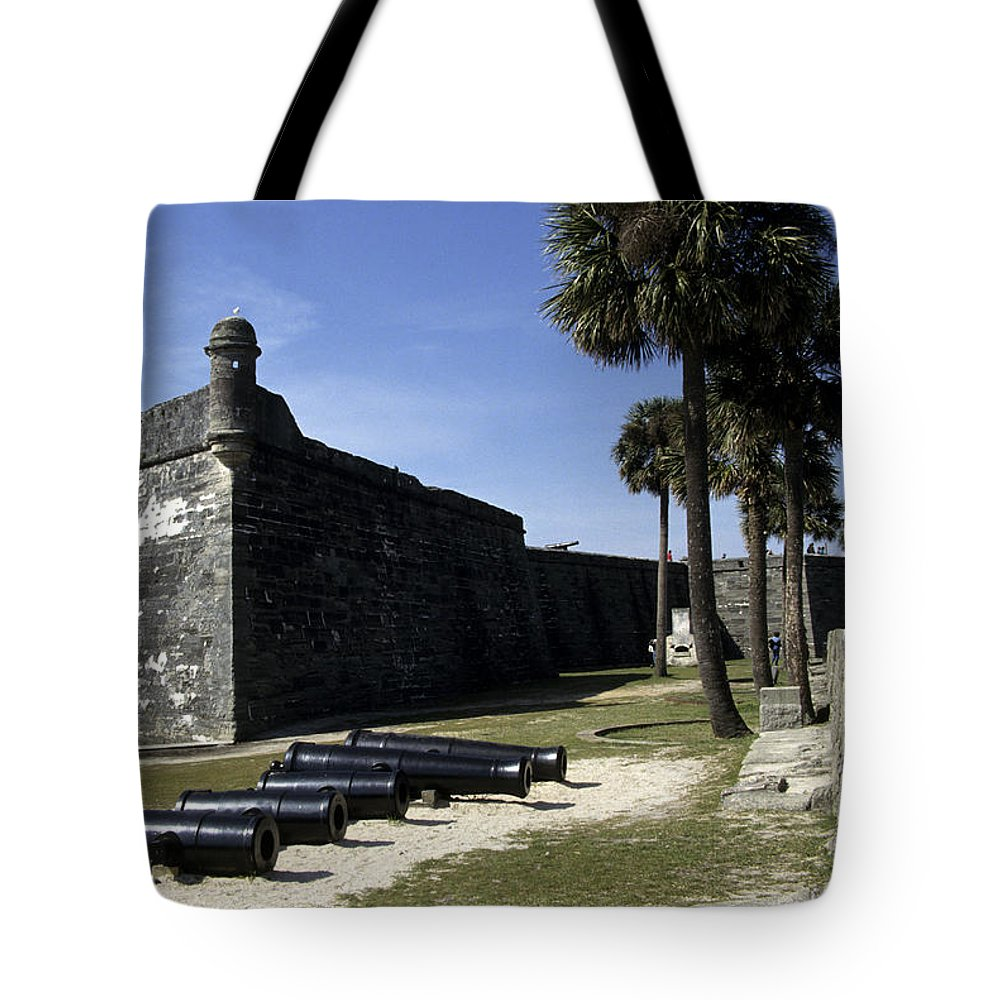 Castillo De San Marcos National Monument Tote Bag featuring the photograph A Wall Of The Castle At San Marcos by Stacy Gold