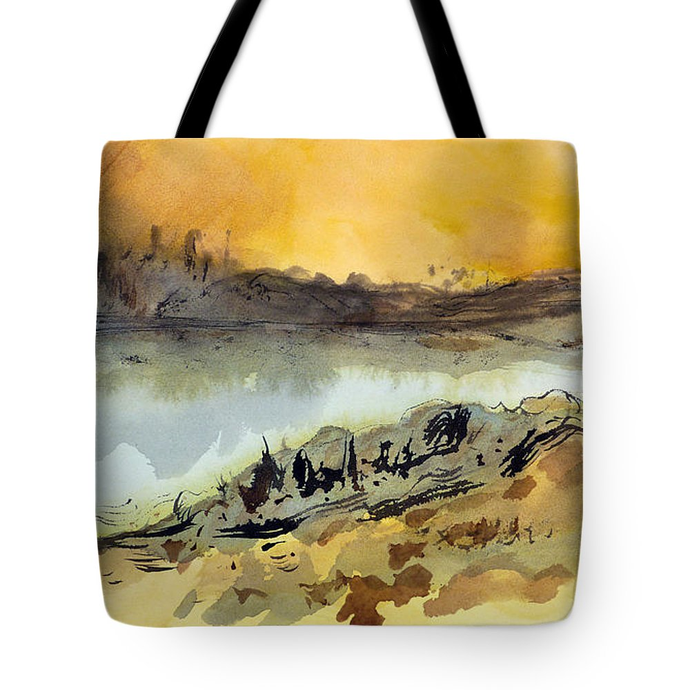 Tropical Tote Bag featuring the painting A Warm Sandy Place by Sharon Jameson