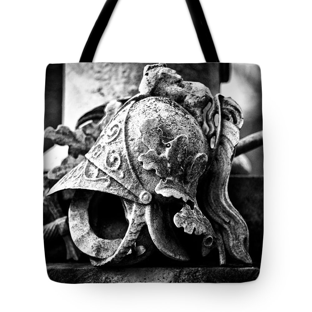 Helmet Tote Bag featuring the photograph A Warrior Remembered by Scott Wyatt