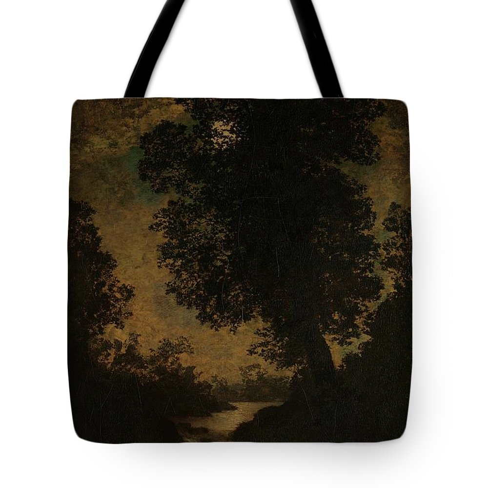 Ralph Albert Blakelock A Waterfall Moonlight Tote Bag featuring the painting A Waterfall Moonlight by Ralph Albert Blakelock
