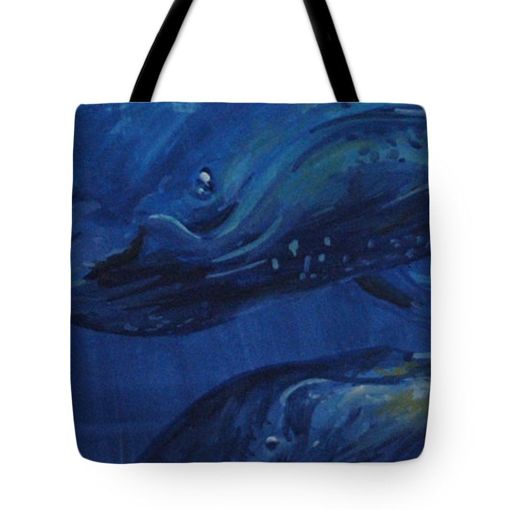 Whales Tote Bag featuring the painting A Whale Of A Tail by P Anthony Visco