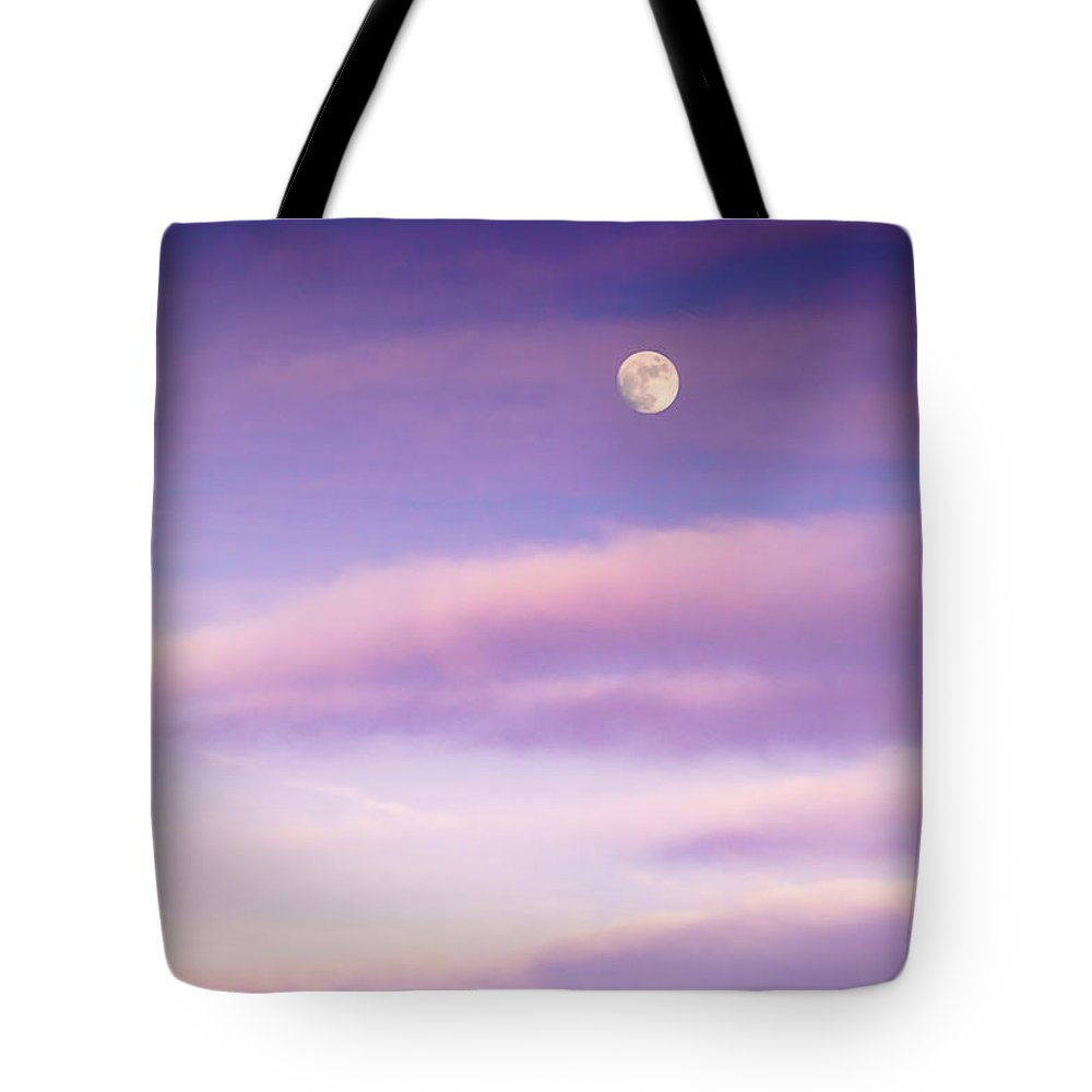 Clouds Tote Bag featuring the photograph A White Moon In Twilight by Ellie Teramoto