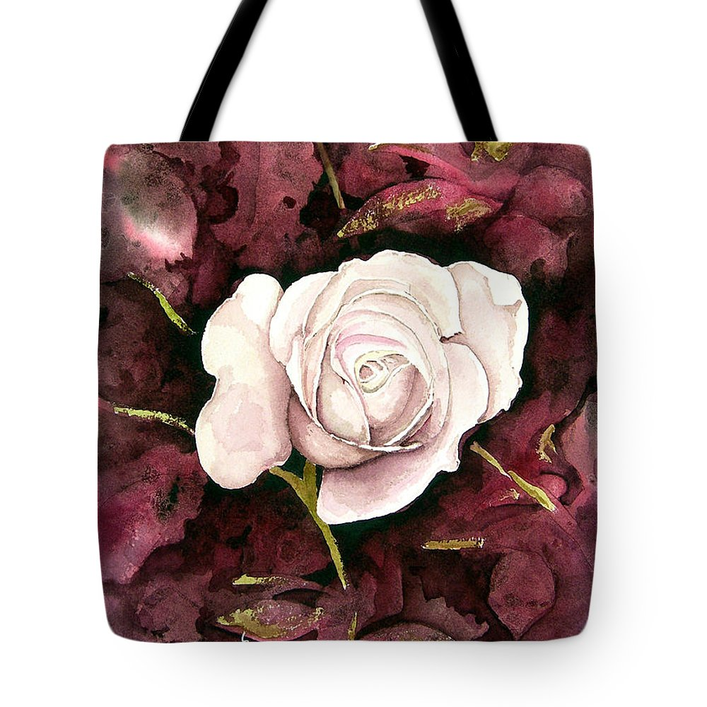 Flower Tote Bag featuring the painting A White Rose by Sam Sidders