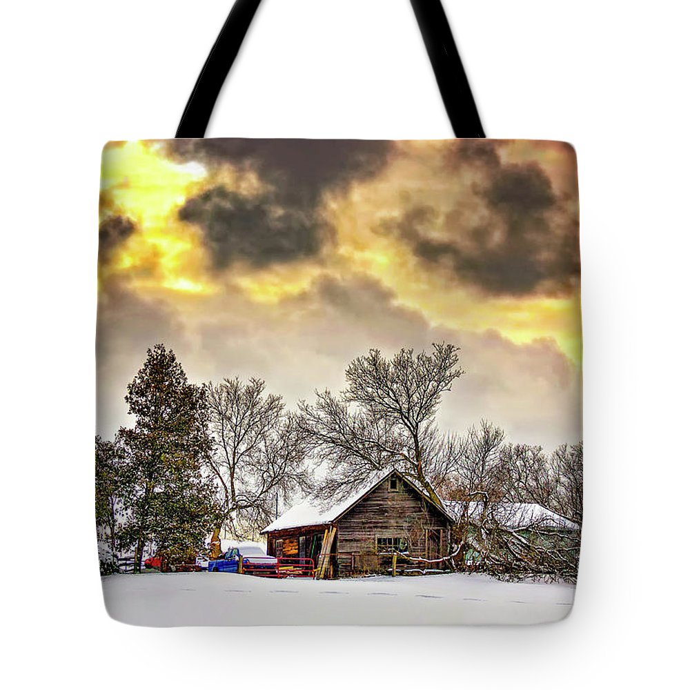 Winter Tote Bag featuring the photograph A Winter Sky by Steve Harrington