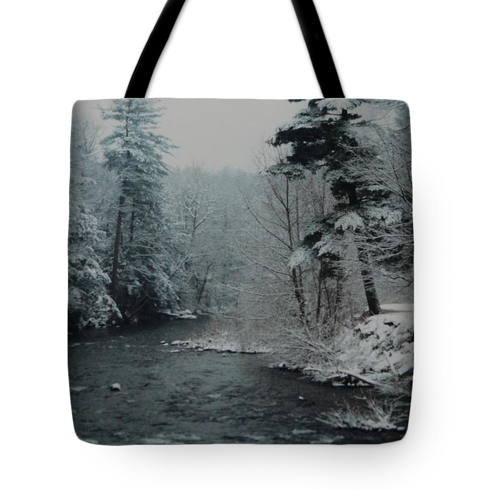 B&w Tote Bag featuring the photograph A Winter Waterland by Rob Hans