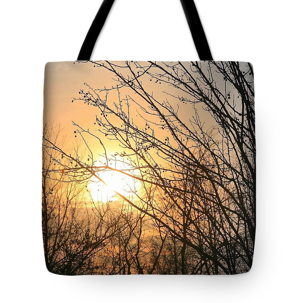 Sun Tote Bag featuring the photograph A Winter's Day After Glow by J R Seymour